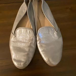 J crew Silver Loafers size 5.5